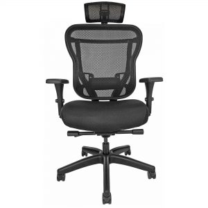 Mesh-back office chair with headrest