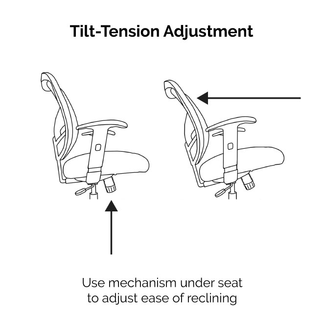 DN Office Chair has tilt-tension adustment to control ease of reclining.