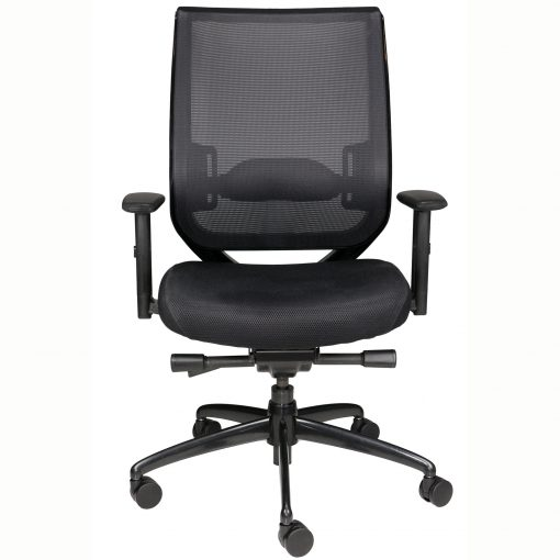 NF task chair with mesh back, wheels, and arms