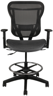 Black mesh stool with arms